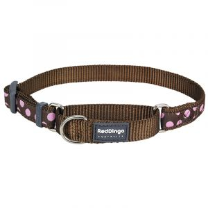 Red Dingo Halsbånd - Halvkvæl - Brun m. Pink prikker